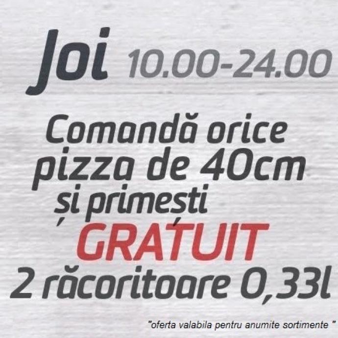 2 racoritoare 0.33l gratis la 1 pizza grande comandata