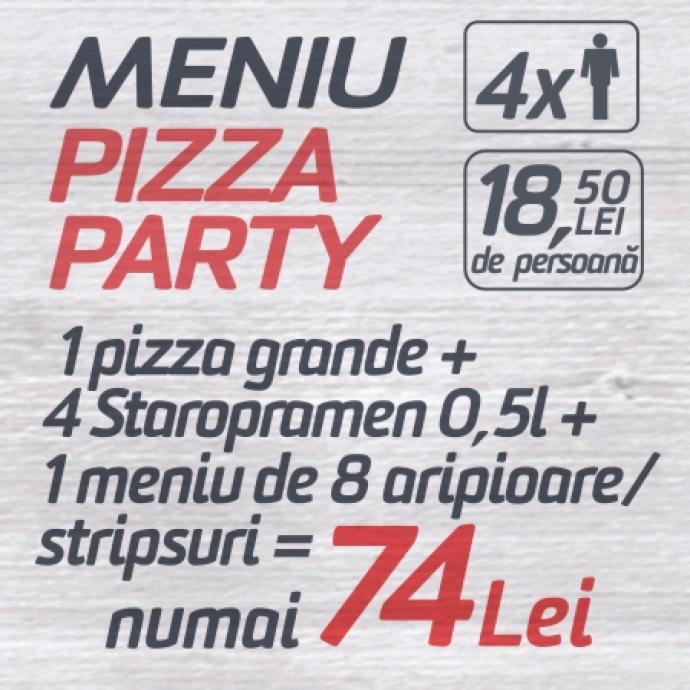 1 Pizza Grande + 4 Staropramen 0.5l + 1 Meniu 8 Aripioare/Stripsuri = 74 lei