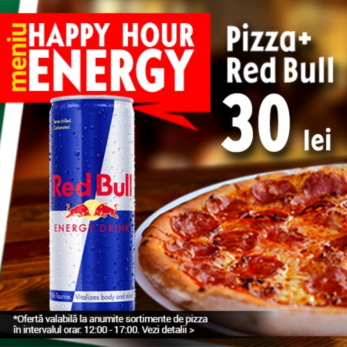Pizza + Red Bull